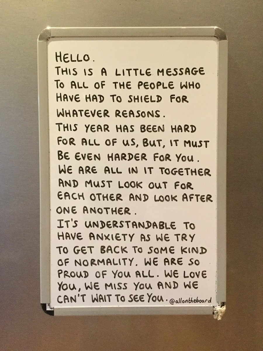 Hello. This is a little message to all of the people who have had to shield. @allontheboard