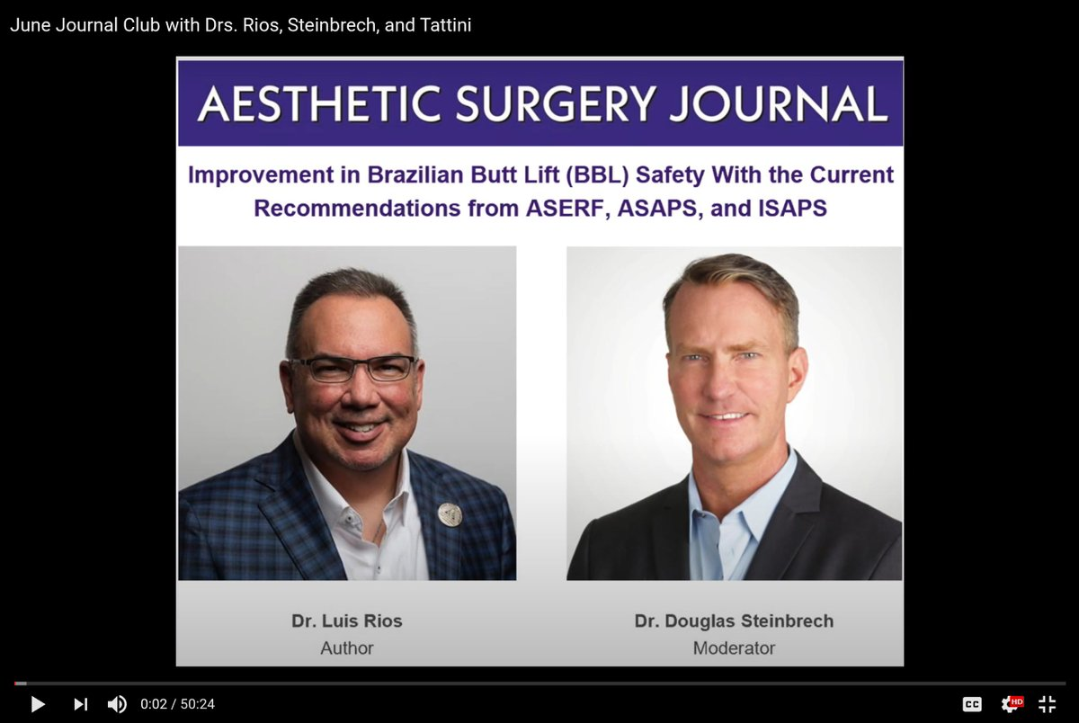 """A recording of the June Journal Club session covering """"Improvement in Brazilian Butt Lift (BBL) Safety With the Current Recommendations from ASERF, ASAPS, and ISAPS"""" is now available to watch: https://t.co/kX0Vy8LJvH #plasticsurgery #BBL #patientsafety https://t.co/FMgTj8ERVm"""
