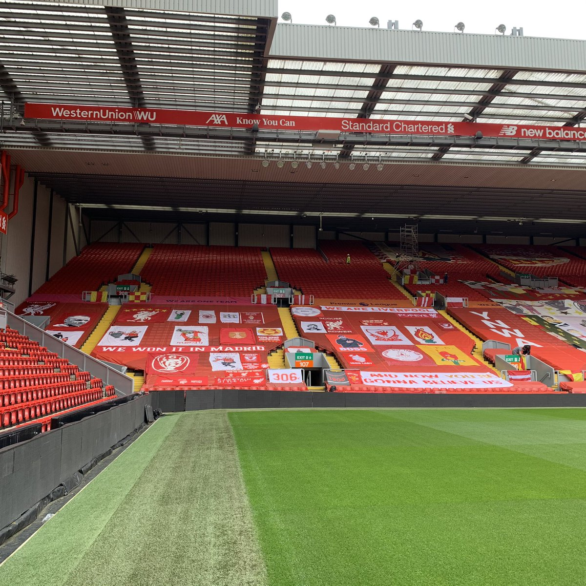 We've been at Anfield today getting The Kop ready for Wednesday.  https://t.co/TtdMDSCvkc https://t.co/U2m9HCHo86