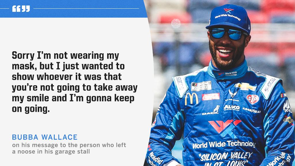 Bubba Wallace has a message for the person who left a noose in his garage stall. https://t.co/asAc8hTTx3