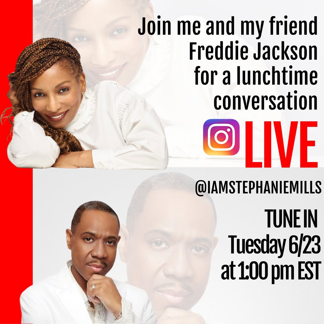 Tuesday 6/23 at 1pm EST. Join me and my friend #FreddieJackson for a lunch time conversation on my Instagram live.  It's gonna be a great positive time talking about life, current affairs and a lot of laughter.  @iamstephaniemills https://t.co/Vn8gbRW1zk