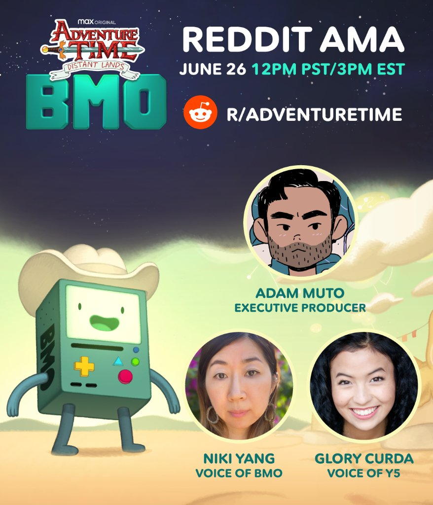 Bring your burning questions to the #AdventureTimeDistantLands AMA with @MrMuto, Niki Yang and @GloryCurda! They will be hanging with fans on the Adventure Time subreddit FRIDAY at 12p PST/3p EST!   Don't miss the Adventure Time: Distant Lands BMO special on @HBOMax June 25! https://t.co/bTb1SPaW5Y