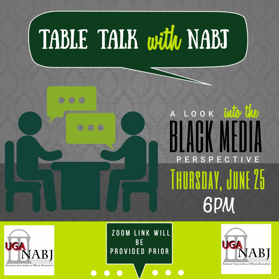 Please Join us for Table Talk with NABJ! We will have black media professionals from the Dallas Morning News and CNN share how the protests and increased coverage of the BLM movement has impacted their day to day jobs & any advice for students wanting to go into the media field. https://t.co/Hmf0VPrdgc