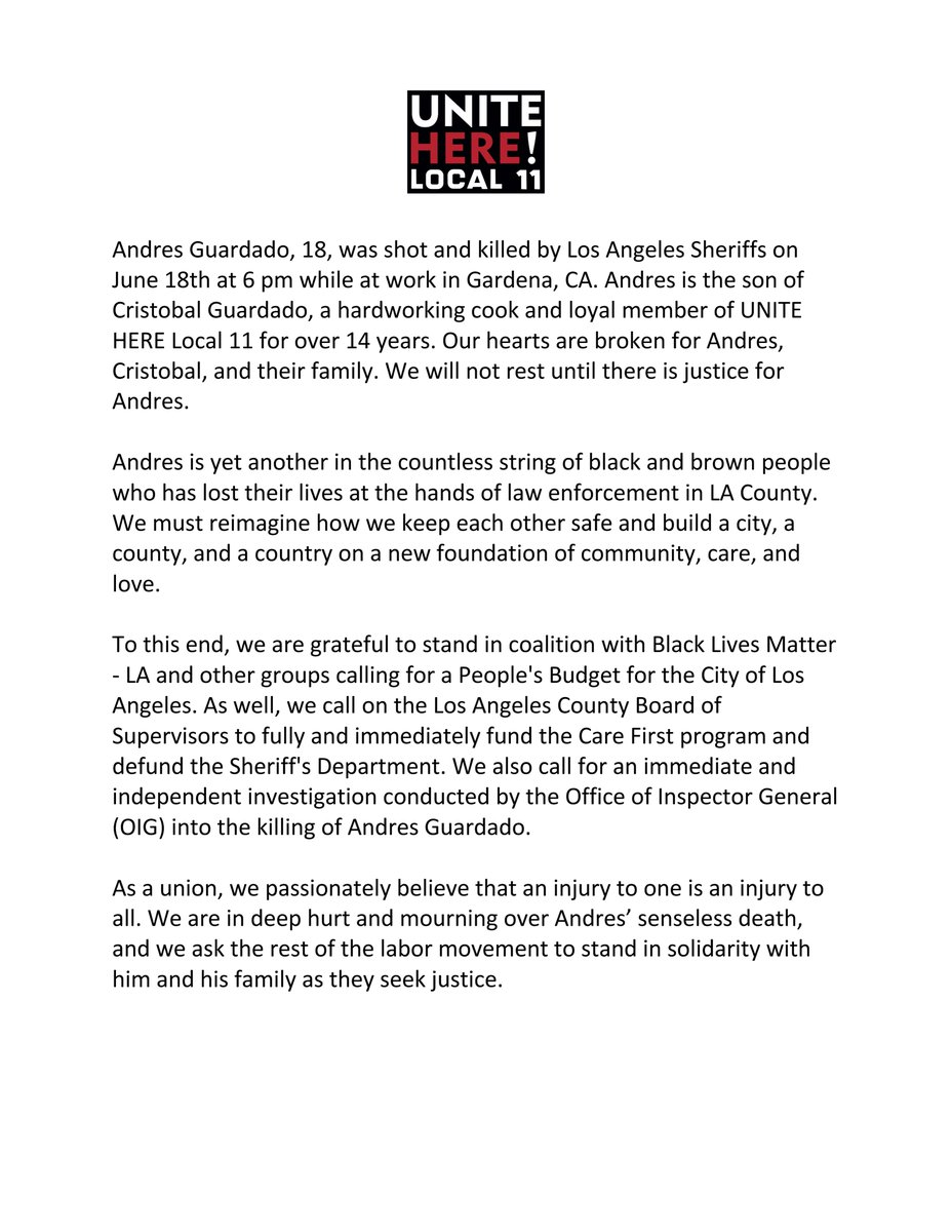 Local 11's statement on the killing of Andres Guardado, son of member Cristobal Guardado.