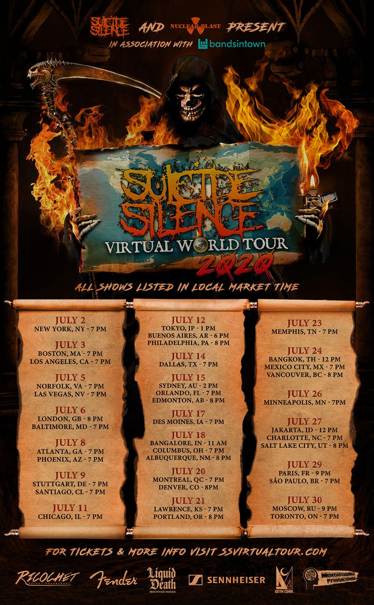 """39 dates. 14 countries. 5 continents. #SuicideSilence will be """"virtually"""" everywhere this July on a #VirtualWorldTour! Tickets for the geo-gated shows are on sale now at SSVirtualTour.com Do you have your tickets? 🤘🖥"""