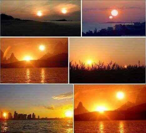 Yesterday two suns have appeared on the US-Canada border, one is the true sun and the other is the moon. This phenomenon is known as Moon Hunters and only occurs when the Earth changes its axis.Moon gets intense light. So beautiful. https://t.co/cjgPrM4w9A