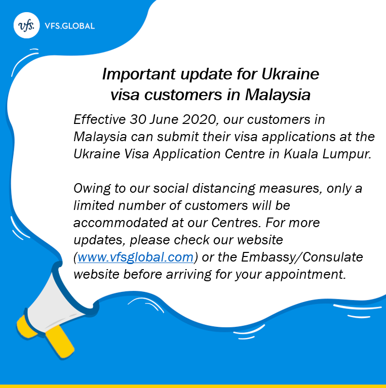 """VFS Global on Twitter: """"Our Ukraine Visa Application Centre in Kuala  Lumpur, Malaysia will reopen on 30 June 2020 with strict health and safety  guidelines in place. As your safety is important"""