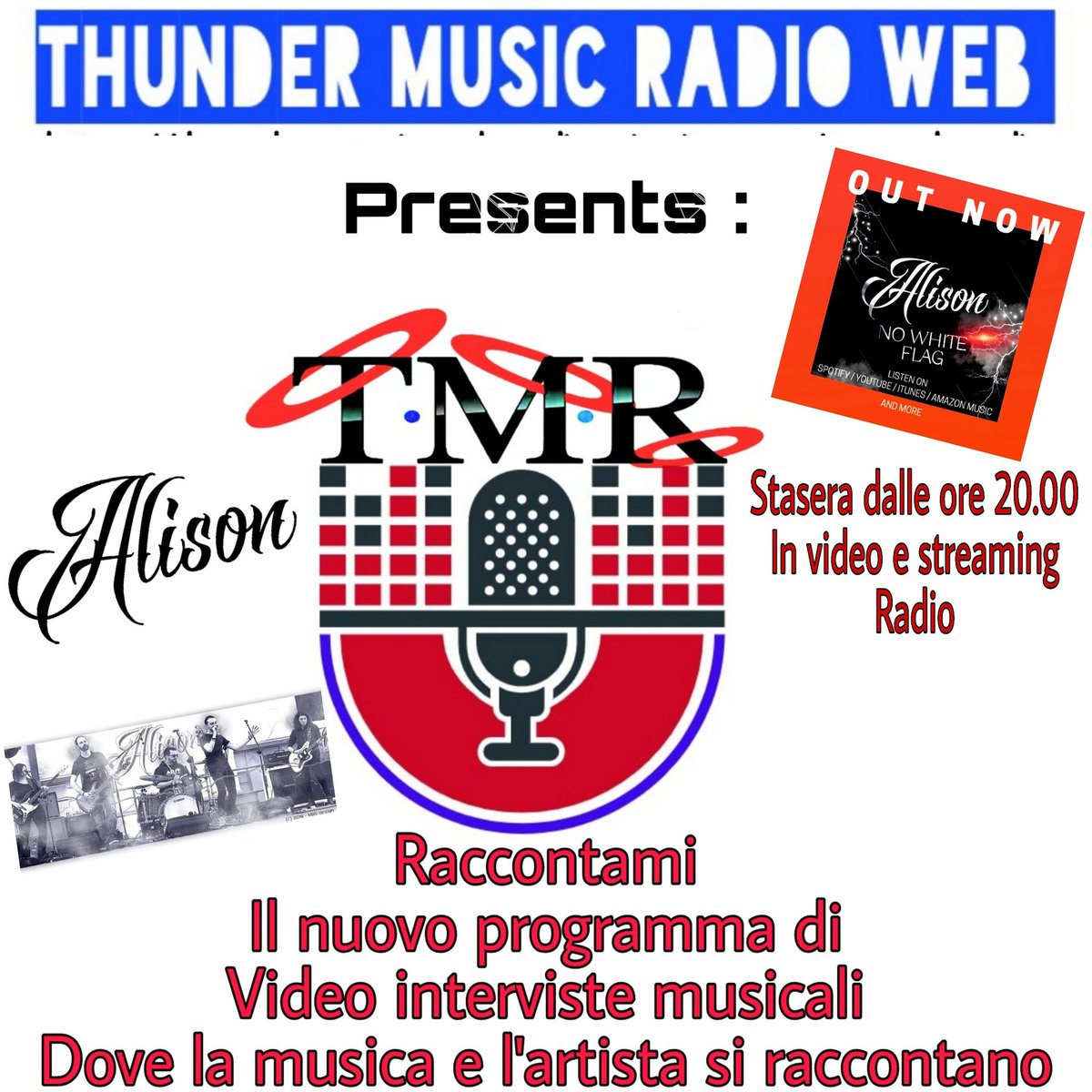 Listen to http://thundermusicjazz.caster.fm/. Tonight at 08.00 pm in Italy and in the time zone in the United States of America at 02.00 pm there will be the video interview that you can see on our official Facebook page and also listen to live radio from the Rock band Alison. pic.twitter.com/nVuybG72x4