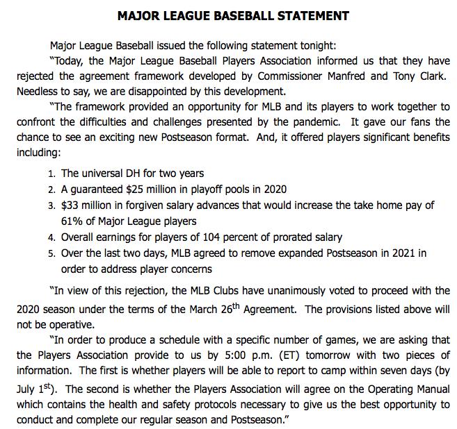 MLB statement: https://t.co/Jz3rSTvXuU
