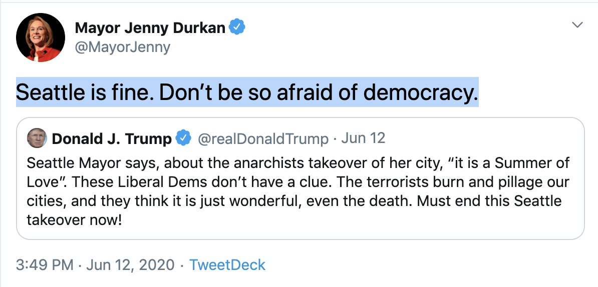 """Mayor Jenny Durkan on Twitter: """"While we believe community and  demonstrators can and should continue gathering peacefully on Capitol Hill,  the disorder, violence and impacts on businesses and residents threatens to  derail"""