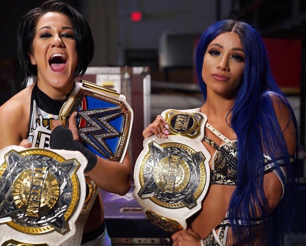 Sasha Banks and Bayley's match on #WWERAWcaps off eight days which saw them compete at #WWEBacklash and appear on the following night's #WWERAW, compete again on #WWENXT, Sasha Banks compete on #SmackDownand then both return to #WWERAW to face The IIconics.   WorkHorsewomen.  pic.twitter.com/CpkS599CiN  by WWE