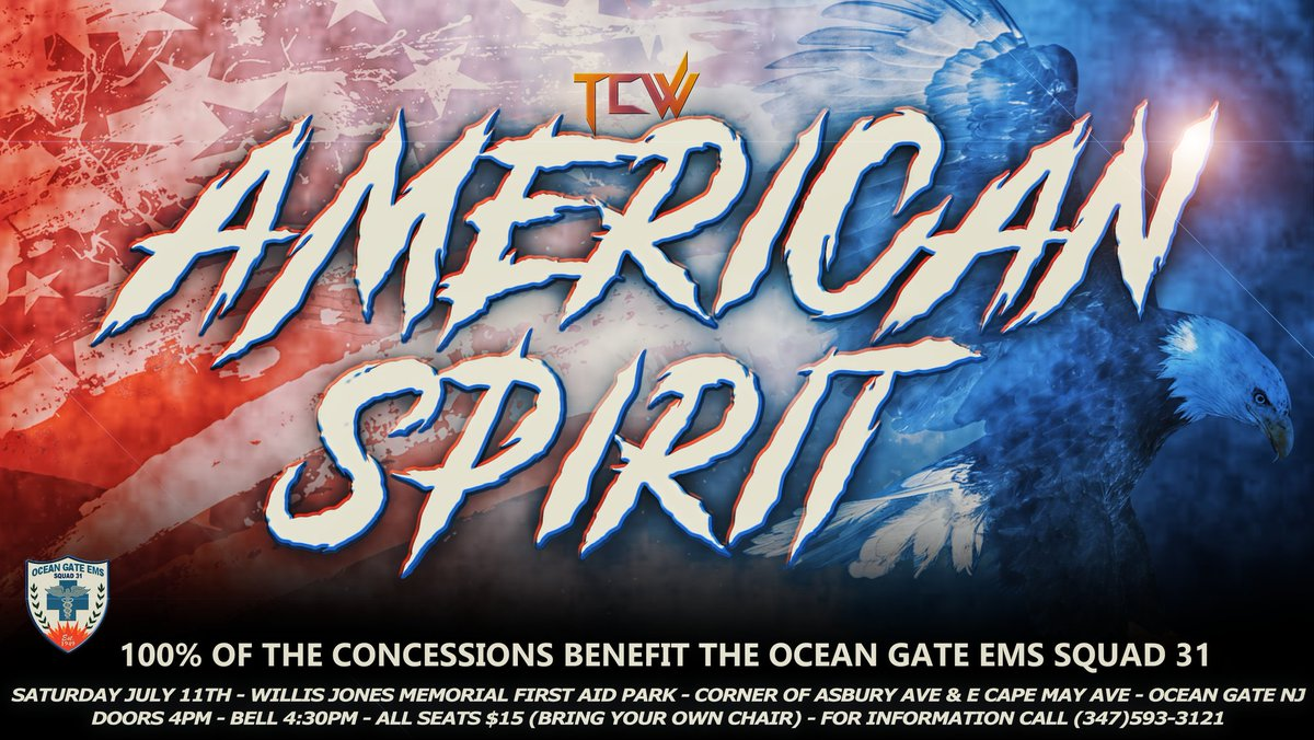 Announcement #3 Titan Championship Wrestling Presents American Spirit tickets are officially on sale. …http://titan-championship-wrestling-entertainment-llc.ticketleap.com/titan-championship-wrestling-presents-american-spirit/… All seats are $15 (bring your own chair). Matches to be announced soon. #WWERaw #AEW #WWE #wrestling #prowrestling #professionalwrestling #NWApic.twitter.com/MqNPyWFcFF  by TiTan Championship Wrestling Entertainment