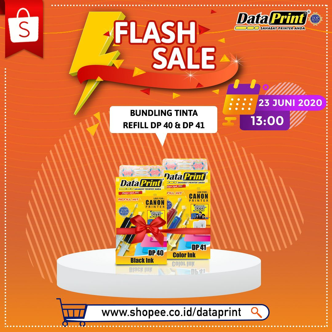DataPrint Flash Sale hanya di Shopee mall DataPrint  Untuk pembelian produk DataPrint Bundling tinta refill  DP40 & DP41 hanya di official store DataPrint SHOPEE -> https://t.co/LWYf7K9HCH  Tanggal 23 juni 2020 Pk 13.00 Jangan lupa follow toko DataPrint ya  #shopee #sale https://t.co/oaypTwwQVN