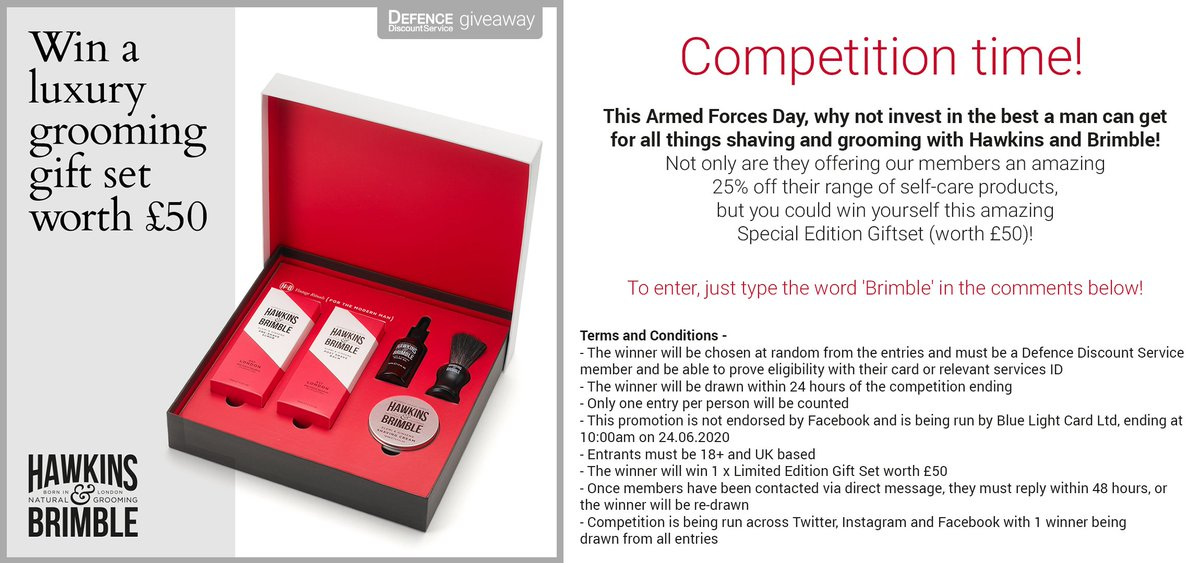 This Armed Forces Day, why not try and win yourself this amazing Special Edition Giftset (worth £50) from Hawkins and Brimble!  To enter, just type the word 'Brimble' in the comments below!  (Full terms and conditions are on image, winner must be a DDS member) https://t.co/gPv4mDW8ox