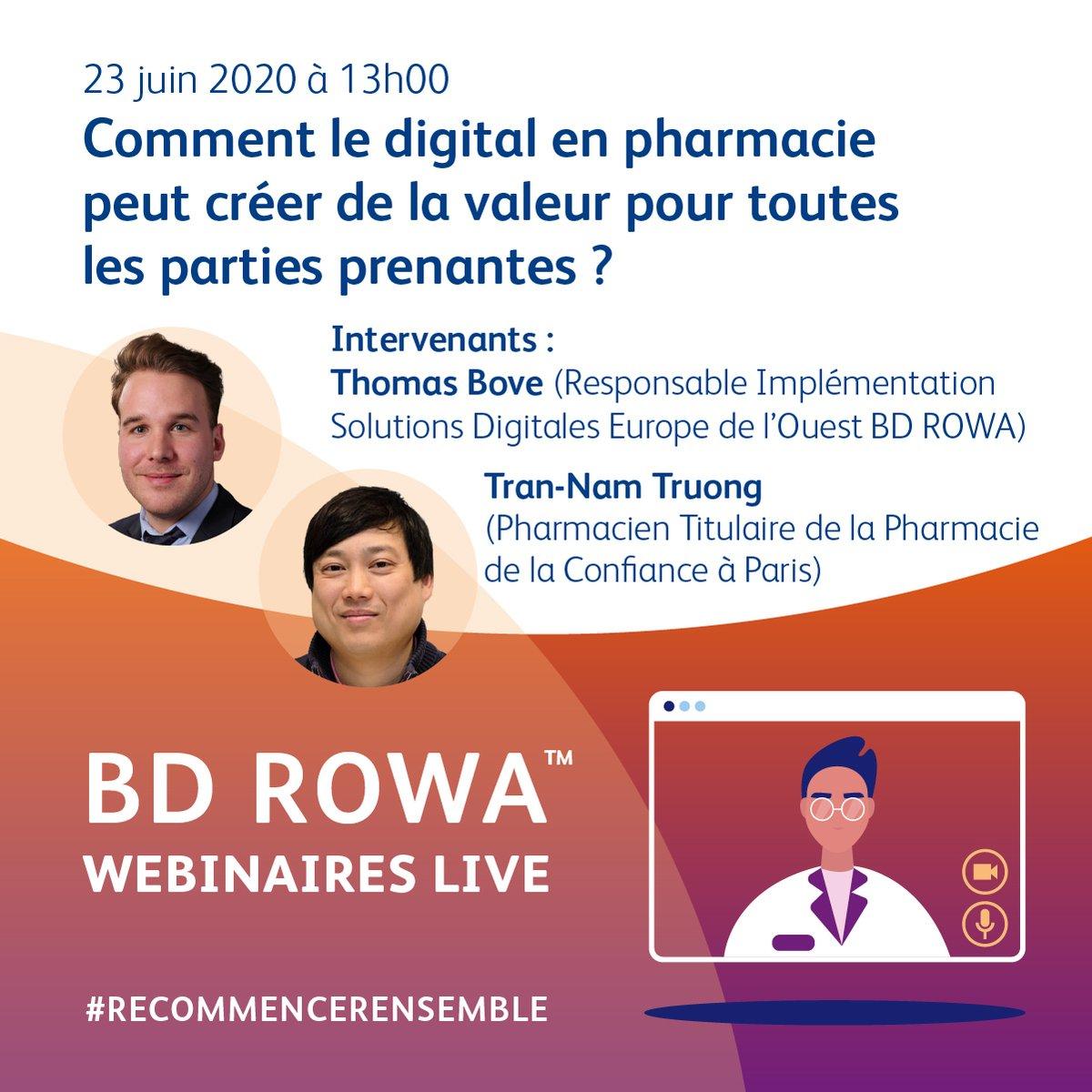 📣 BD ROWA Webinaires LIVE   MARDI 23 à 13h00   Inscription 👉🏼 https://t.co/97D8Kp5uW9  : Comment le digital en pharmacie peut créer de la valeur pour tous ? Avec Tran-Nam Truong (Pharmacie La Confiance) et Thomas Bove (BD Rowa). #bdrowawebinaires #innovationforpeople https://t.co/ouXyYvIJiw