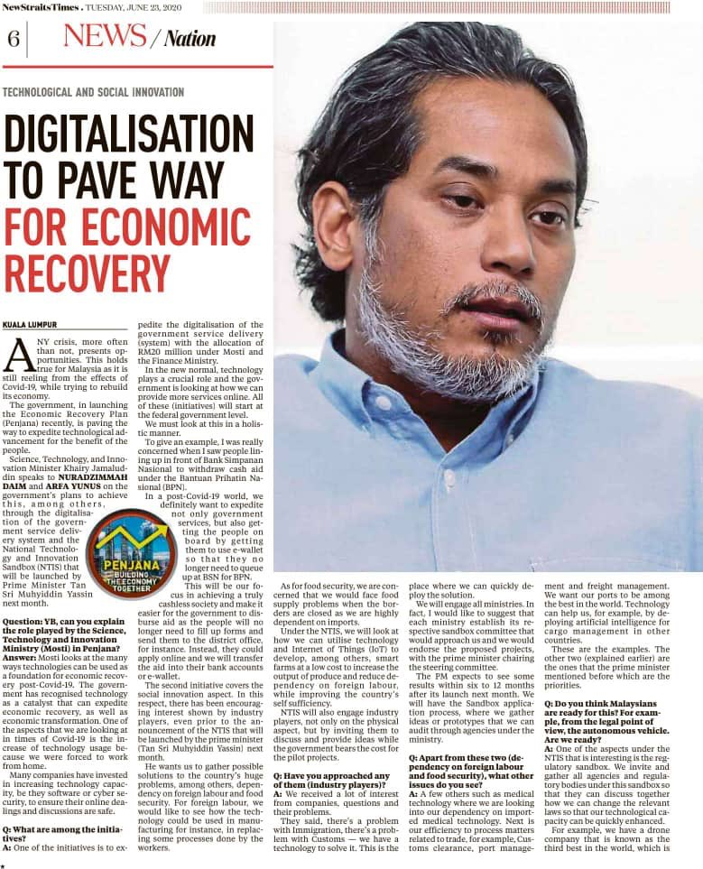 Rapid digitalisation and deployment of deep tech in National Innovation and Technology Sandbox to spur economic recovery and solve long-standing structural problems (both moonshot and mundane). Towards a mission-oriented tech and innovation policy. https://t.co/r8c49URfC9