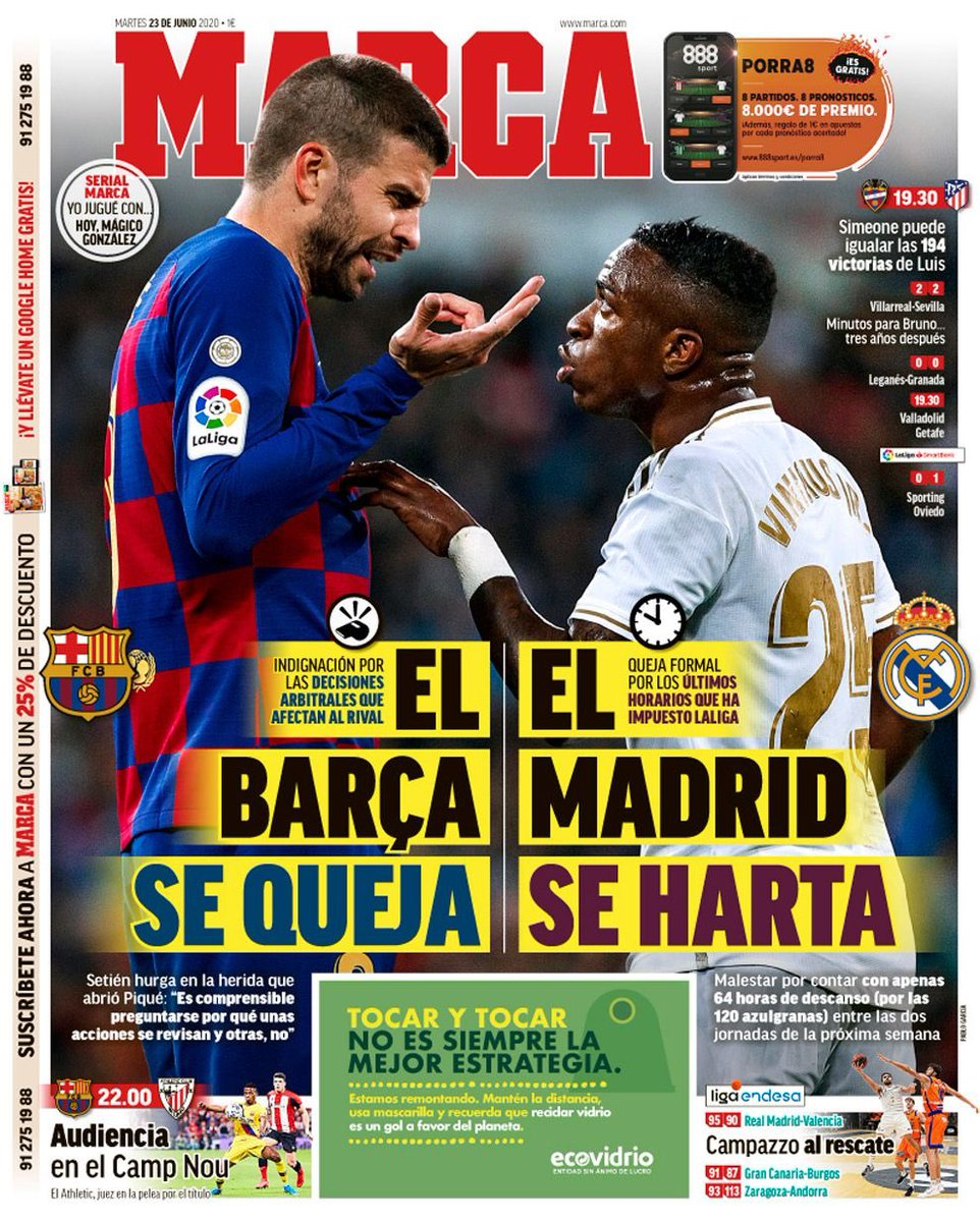 The Spanish Football Podcast Pa Twitter Today S Headlines Marca Barca Complain Madrid Get Tired As Var Fight Mundo Deportivo Varbena Verbena Summer Fair Sport They Ll Stand