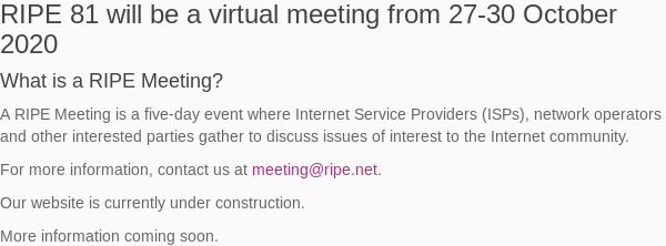 Image for the Tweet beginning: #RIPE81 will also be a