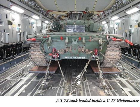T-72 loaded inside a C-17
