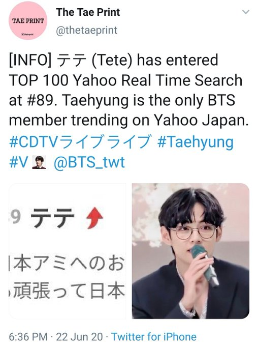 """Who is the guy with round glasses on the left, very very handsome""""""""It's the first time for me to listen to BTS, their voice is beautiful. And the guy with glasses is cute~"""" Taehyung owns Japan"""