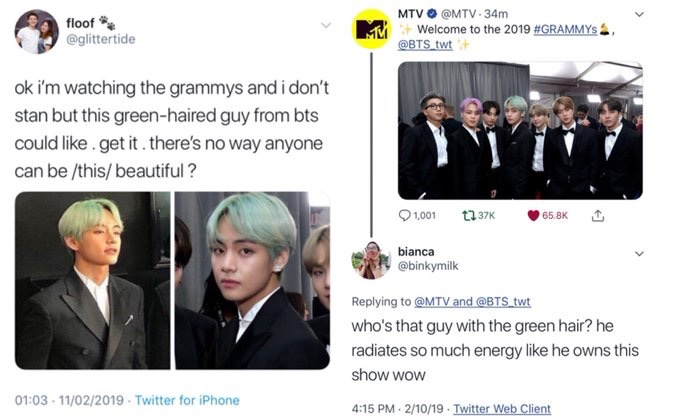 He went viral as Guy with the Mint green hair again after Grammys (2019) and are we surprised ?? Look at him