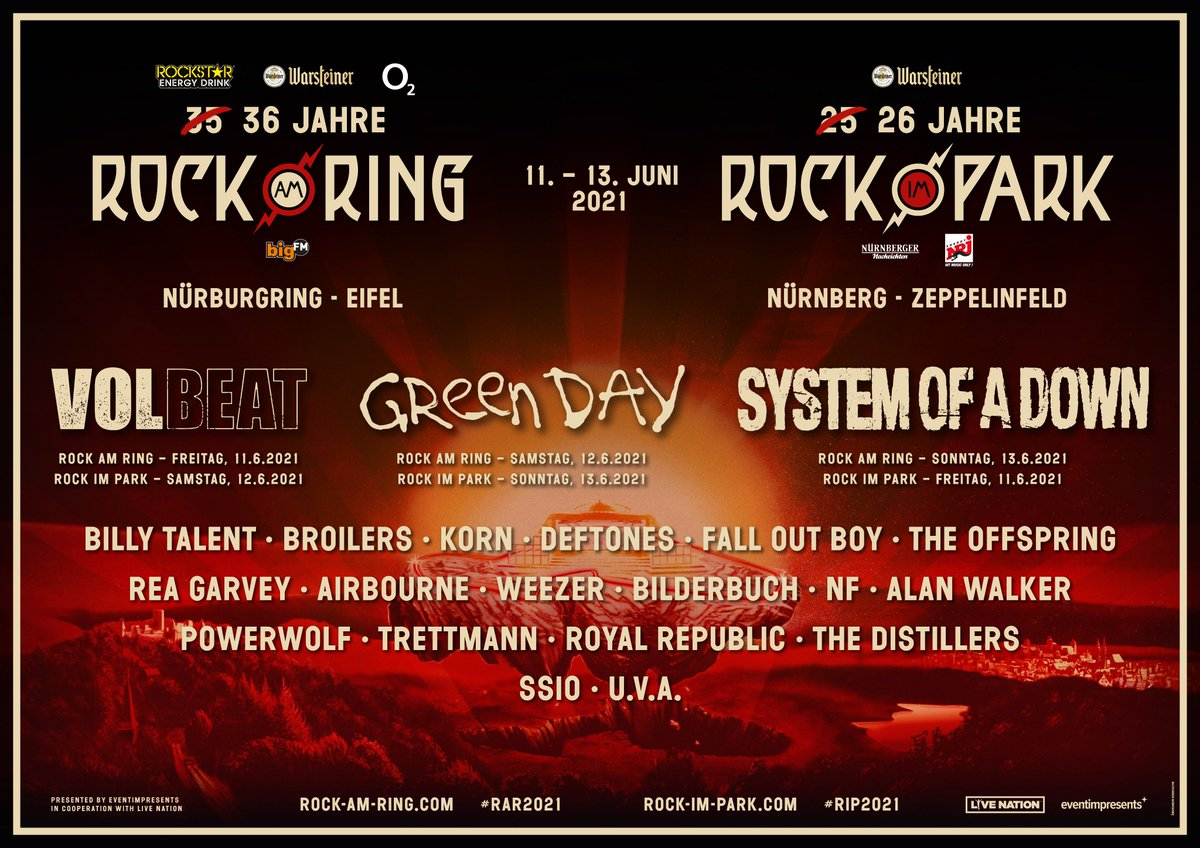 Neue Bandwelle für Ring & Park 2021 Billy Talent, Broilers, Korn, Fall Out Boy, Deftones, The Offspring u.v.a. Umtauschphase noch bis 30.06.2020 https://t.co/CyQhg2dSPf https://t.co/GWhHsDVPsH
