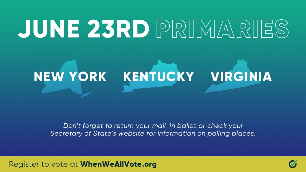 If you live in: New York Kentucky Virginia  TODAY is your #ElectionDay. Make your voice heard. https://t.co/EHvGBsOSZ2