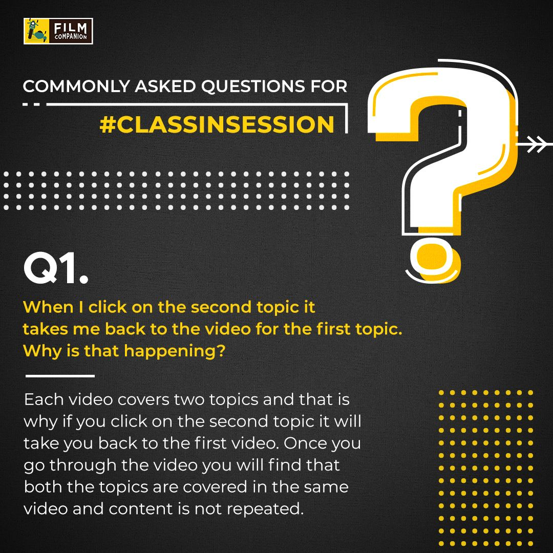 Here's providing solutions to some of the most frequently asked questions for #ClassInSession! Let us know your queries & if you still haven't registered then begin with the first module #WritingAboutFilms : https://t.co/FP15F6b0TM right away! https://t.co/oG4YzaQA1J