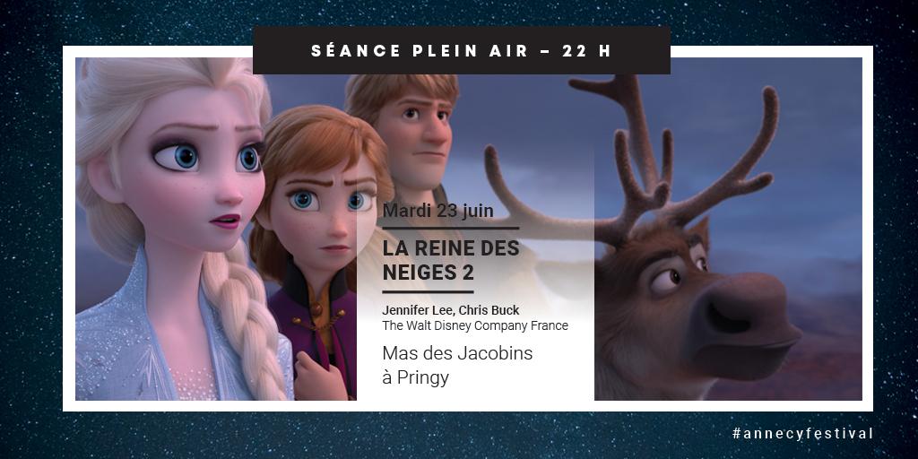 """#PleinAir 📽️🌙 RDV ce soir à 22h au Mas des Jacobins à Pringy pour une #projection #gratuite du film @DisneyFR """"La Reine des neiges 2"""". 🌃 Venez nombreux profiter du beau temps et retrouver l'ambiance d'une soirée animée avec #AnnecyFestival ! 👉 https://t.co/ppir7yLQKY https://t.co/nTocC87eLx"""