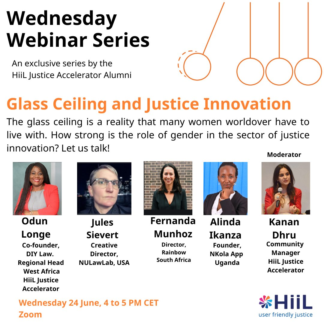 How strong is the role of gender in the sector of Justice Innovation?⁣ ⁣ Join Odun Longe, our Regional Head, HiiL Justice Accelerator alongside other speakers in this conversation.⁣ ⁣ Register for the webinar here: https://t.co/wYpwUaHySP ⁣ ⁣ #justinnovate20 #innovation https://t.co/LAmPS4CXt4