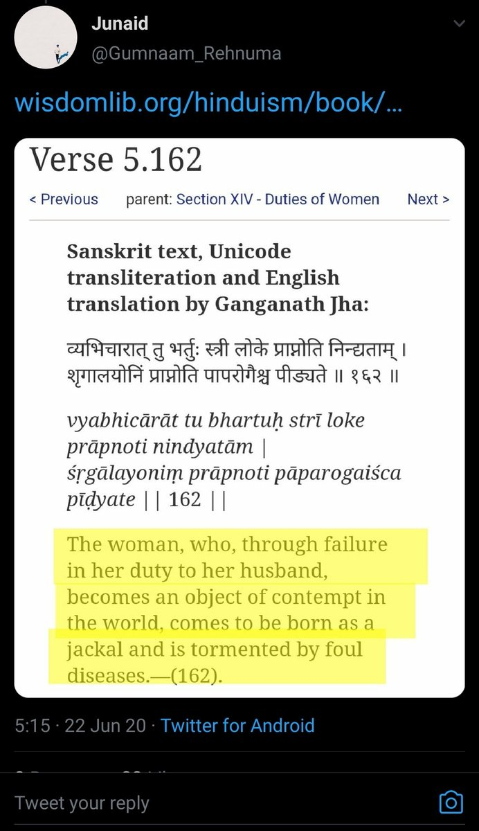 Now this is the funny part, The verse (and previous one) talks about cheating with husband with another man (व्यभिचार) (Adultery) Do Junaid supports Adultery? Maybe he does that's why he got so hurt.