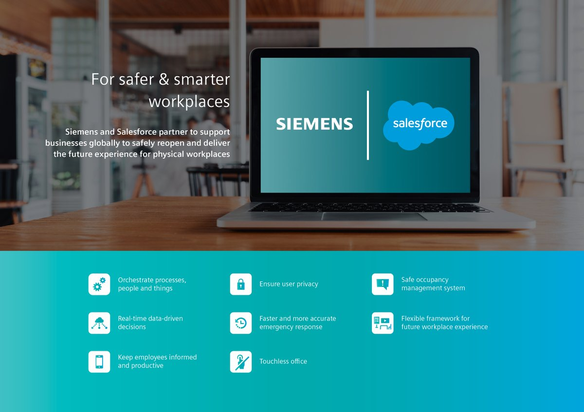 How can tech help us feel safer going back to the office? @SiemensInfra and @salesforce have teamed up to help. With a technology suite, including a touchless office and more, together we're building the future experience for a safe #workplace: https://t.co/Zxn4kIbYMh https://t.co/khmqbCFL9X