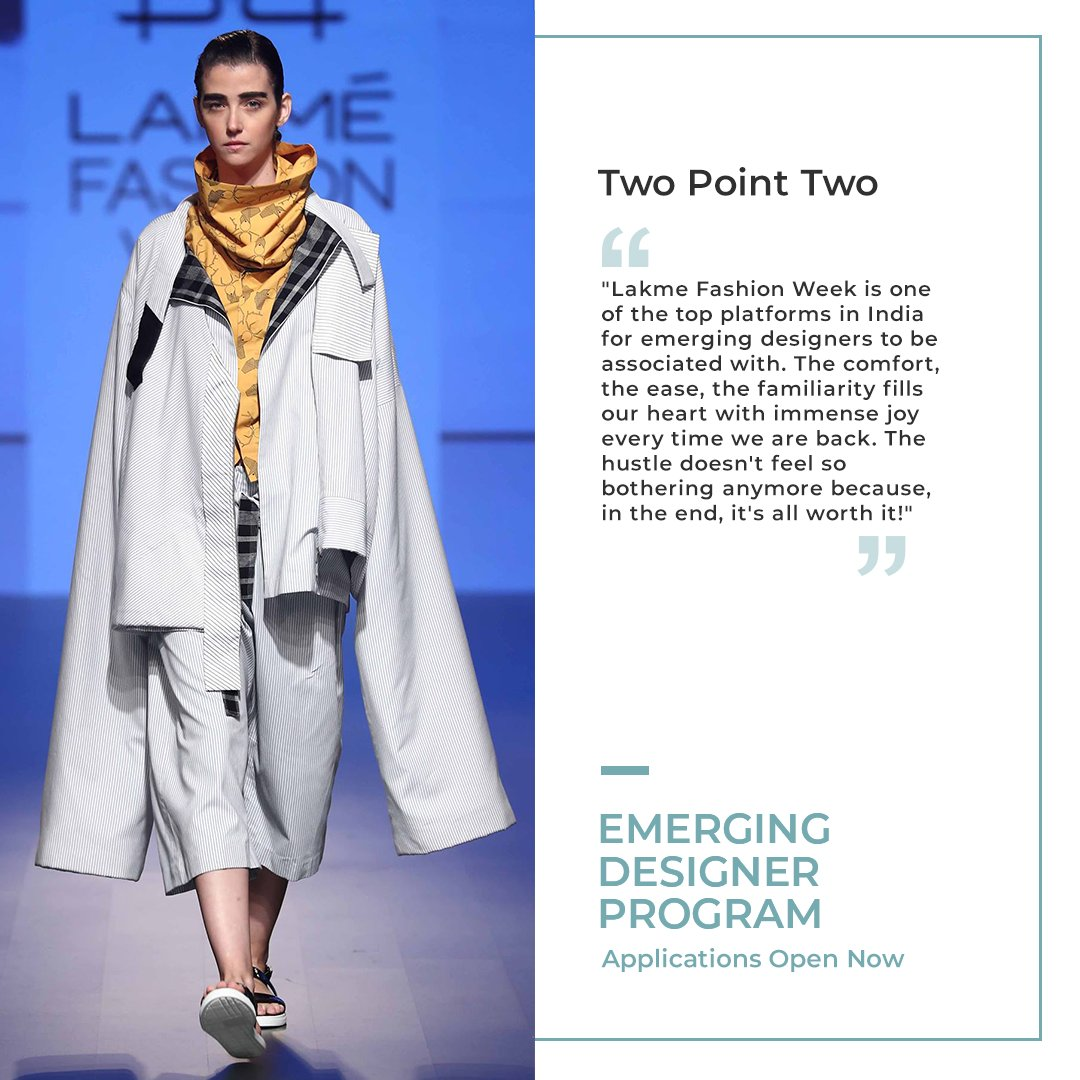 An agender label that focuses on individuality instead of gender, the all-inclusive #TwoPointTwo, creates garments that refrain from confining people to gender roles.  Apply for the #EmergingDesignerProgram here - https://t.co/lczh6PSJXA  #LFW #LFW2020 #LakmeFashionWeek https://t.co/g4XwfBlBfM