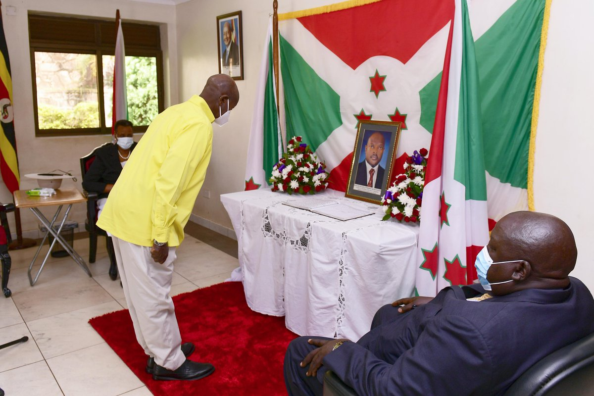 Accompanied by First Lady, @JanetMuseveni, I visited the embassy of Burundi to condole with the people of Burundi and the family of His Excellency Pierre Nkuruzinza who passed away on June 8, 2020.