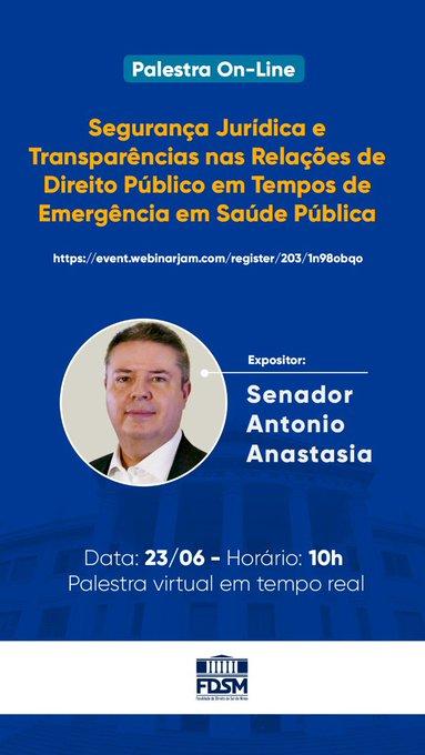 """A partir das 10h, falo sobre o tema """"Segurança Jurídica e Transparências nas Relações de Direito Público"""