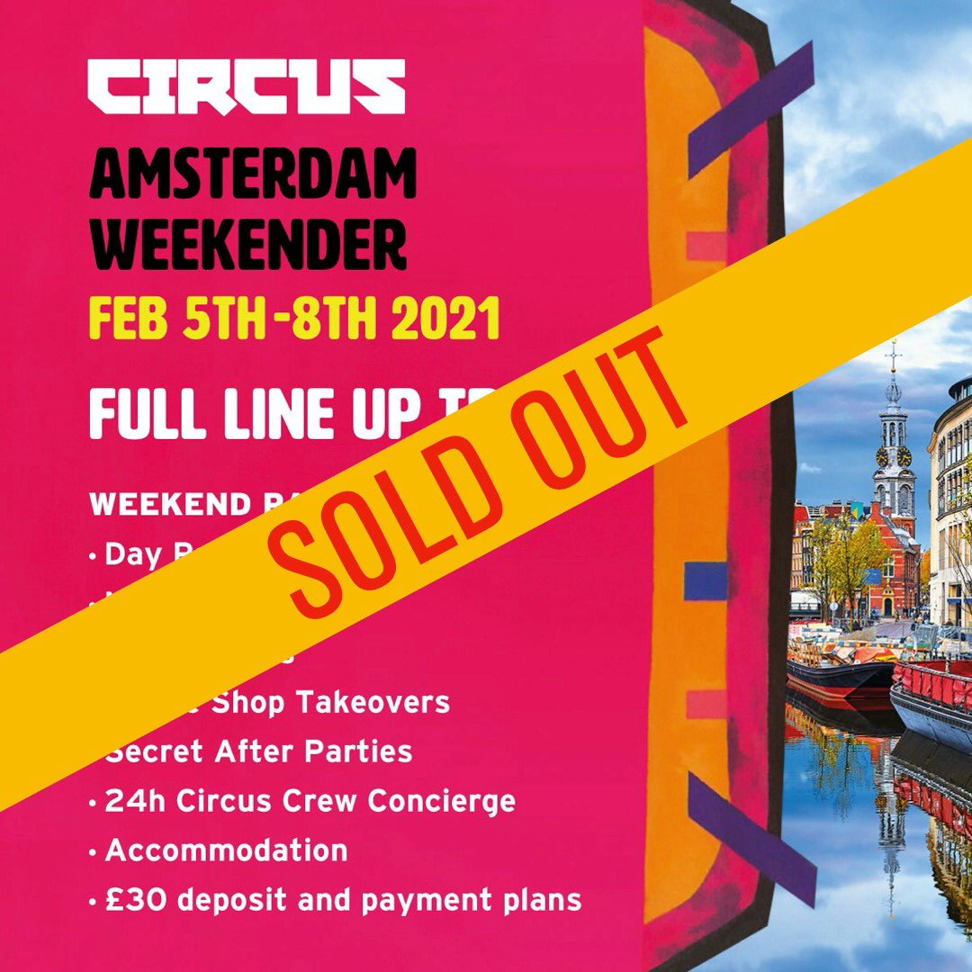 Amsterdam weekender has totally sold out in 13 mins. We are so sorry more of you couldn't get tickets.   However.. all is not lost. We had something else to announce later, but we are gonna pull it forward and announce sooner than expected... Watch this space... Circus x https://t.co/7ZRywQzGEC