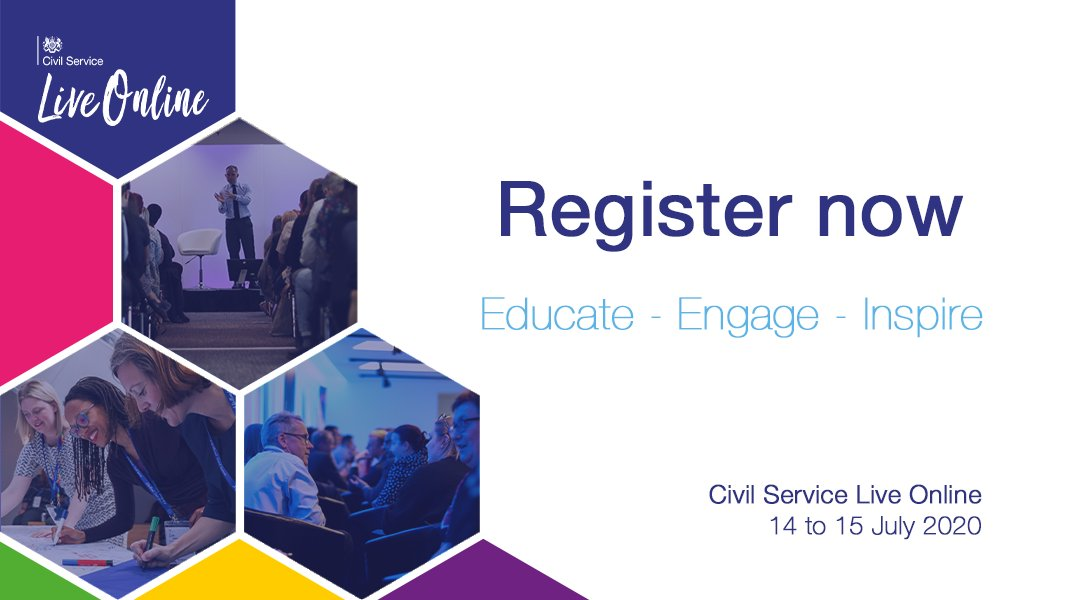 Registrations for Civil Service Live are now open! Taking place 14 to 15 July, and entirely online, the event is biggest single learning opportunity of the year for Civil Servants.  https://t.co/HzHaPHGq4G https://t.co/95I02LxIyZ