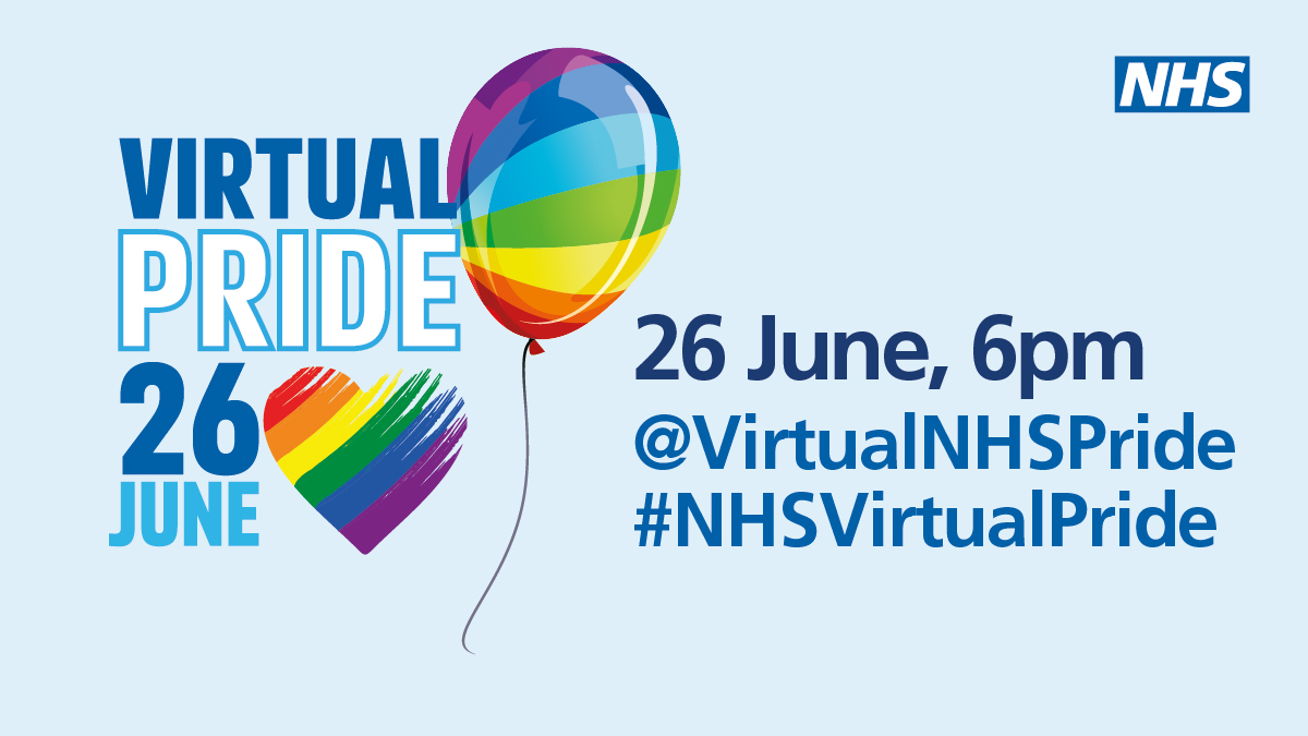 This year we can't celebrate Pride in quite the same way, but you can join us this Friday at 6pm for #NHSVirtualPride! Follow @VirtualNHSPride for updates on how to join us in celebrating our LGBTQIA+ staff, networks and allies. #PrideMonth