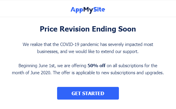COVID-19 Price Revision Ending Soon Beginning June 1st, we are offering 50% off on all subscriptions for month of June 2020 to extend our support. The offer is applicable to new subscriptions & upgrades.  #WooCommerceApp #WordPress #COVID  GET STARTED -  https://www. appmysite.com/pricing/    <br>http://pic.twitter.com/8jrdKW08NA