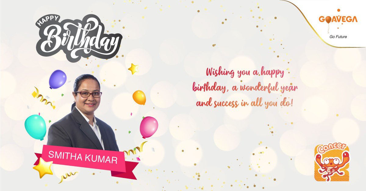 Warmest Birthday wishes to Dear Smitha  Wishing you a wonderful year and success in all you do.  #Goavega #birthday #birthdaypost  #birthdaywishes #happybirthday<br>http://pic.twitter.com/nPtO86Ewqn
