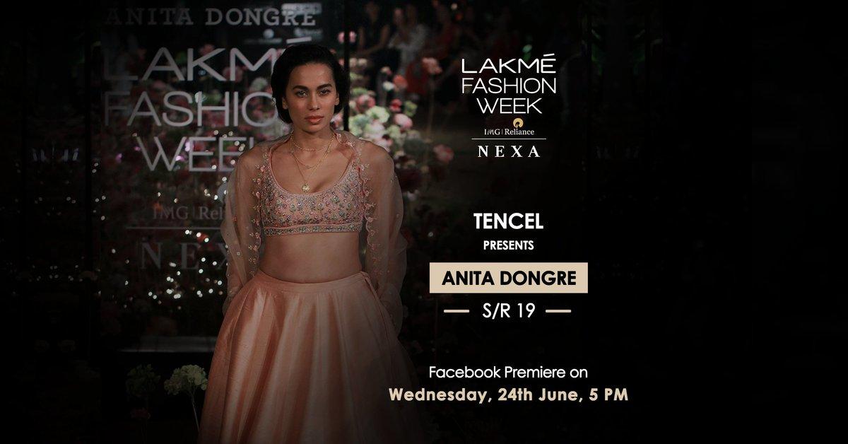 Catch #Tencel presents @anitadongre on 24th June at 5pm.  #LakmeFashionWeek #LFW #5DaysOfFashion #LFWSR19 #MakeFashionGood https://t.co/s5Kz9GoQ3o