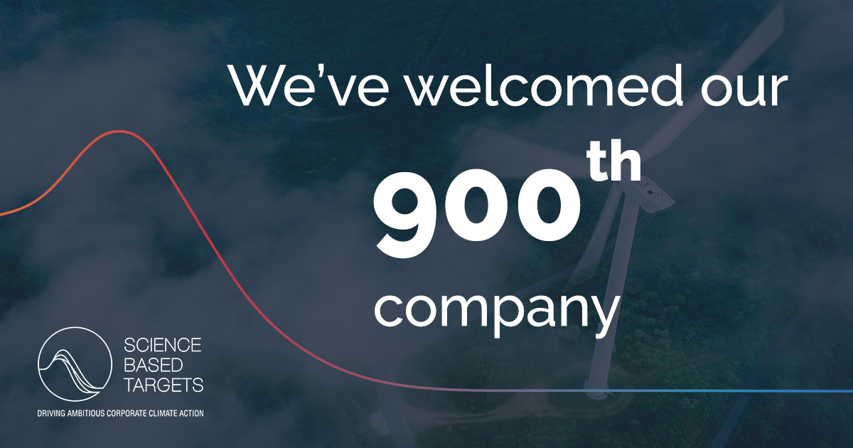 We've welcomed our 900th company!  The companies working with us to set #ScienceBasedTargets now represent more that 10% of global GDP - nearly three times more than the GDP of countries with Paris-aligned NDCs.  Find out more & join them today: https://t.co/YVWiWiwuFR https://t.co/wod5LqFPgL
