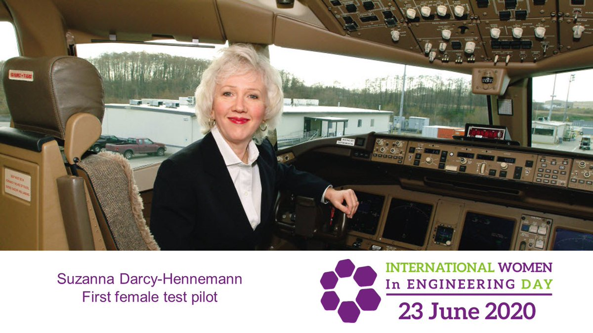Suzanna Darcy-Hennemann used her expertise to #ShapeTheWorld and the future of air travel. She was our first female test pilot, hired in 1985. #INWED20  Read about Suzanna's career: https://t.co/HoZgHP7ynn https://t.co/D3Vki1V7le