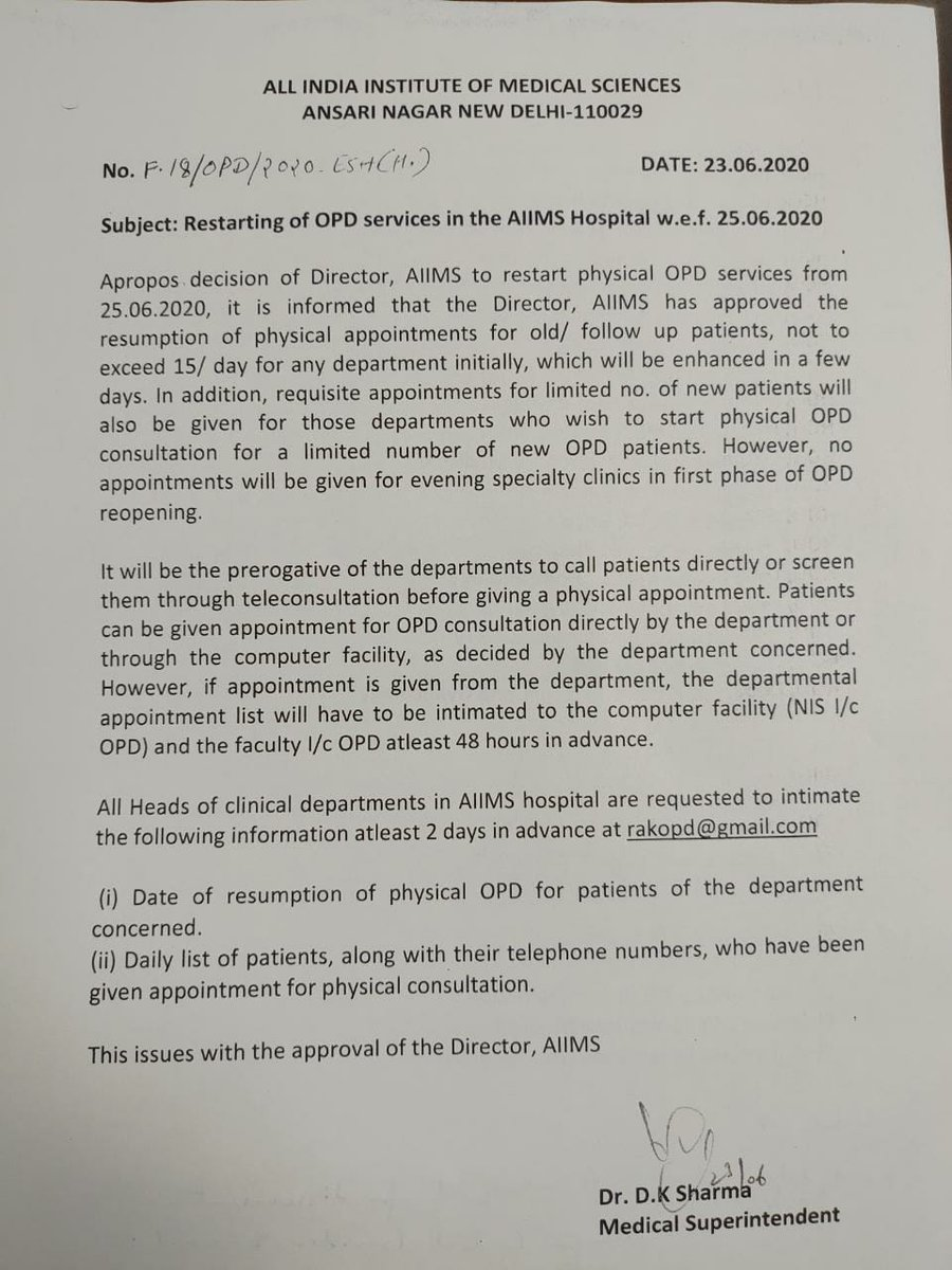 Restarting of OPD services initially with limited number of patients. w.e.f 25.06.2020.@AIIMSRDA @ANI