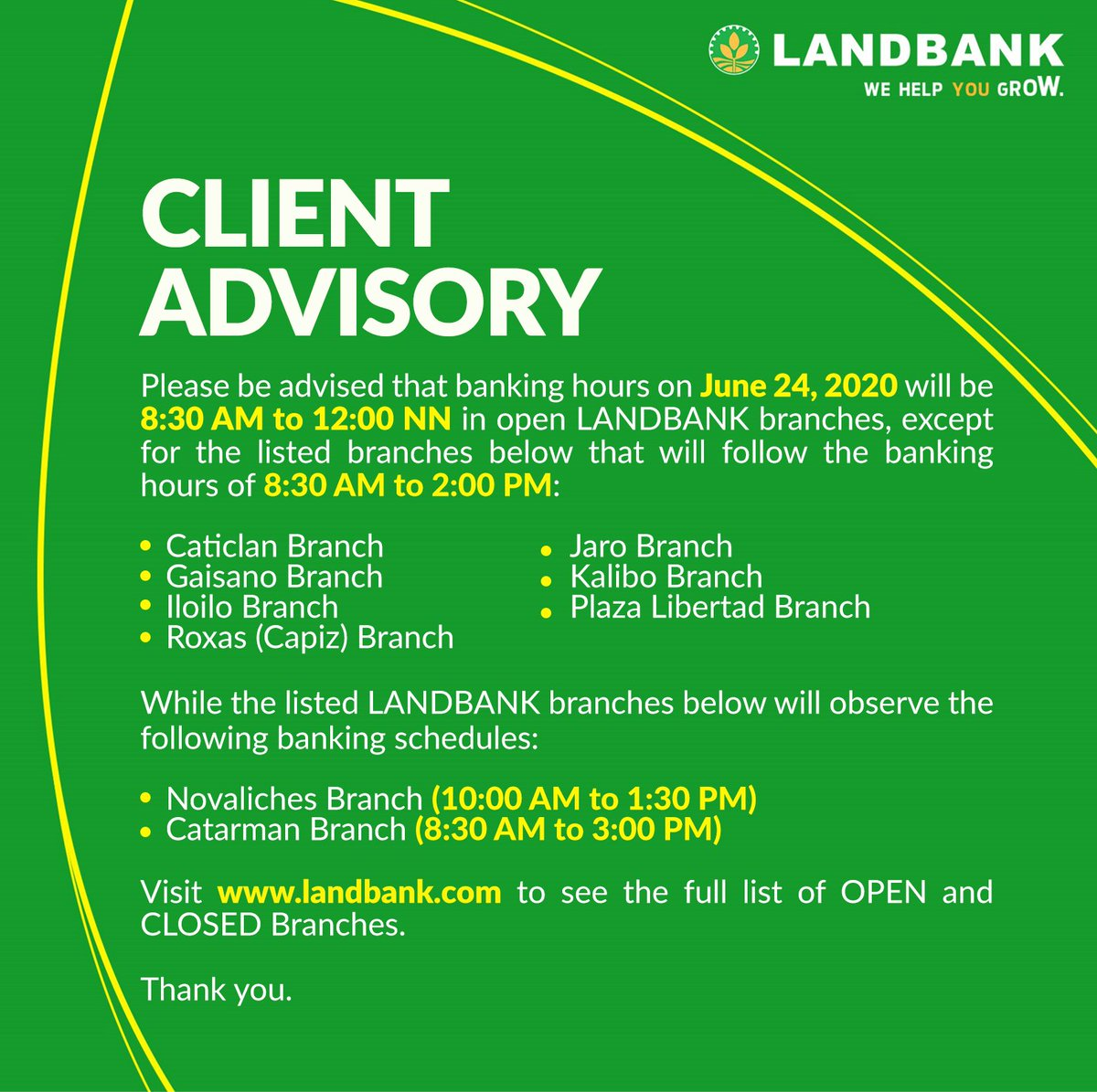 #LANDBANKClientAdvisory  To see the full list of OPEN branches, visit https://t.co/eTHWYbd2S7  To see the full list of CLOSED branches, visit https://t.co/4hstyDG3he https://t.co/xyxbJiAcgF