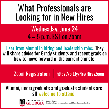 "TOMORROW (Wednesday, June 24): Join us for a Zoom panel ""What Professionals are Looking for in New Hires.""  Panelists: • Blake Mitchell (ABJ '11) • @JulieWolfe (ABJ '02) • @Mollymcferran (ABJ '07) • @RyanCarty_ (ABJ '09)  ⏰4 p.m. ✅Register at https://t.co/lJojj4JIWZ https://t.co/D3JFrmHVeL"