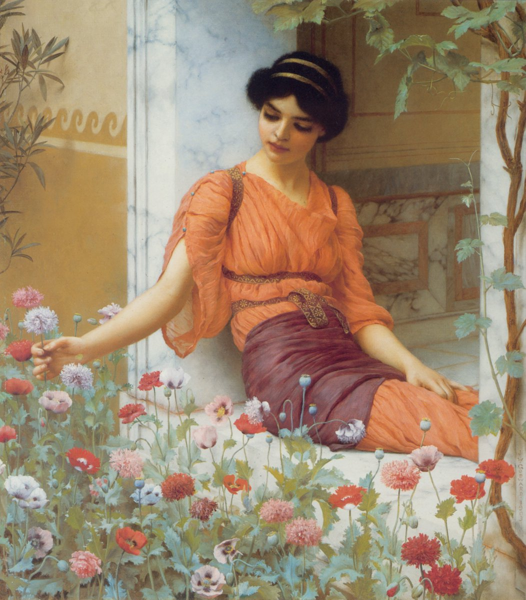 """Summer Flowers, 1903"" ""Nerissa ,1906"" John William Godward (9 August 1861 – 13 December 1922) was an English painter from the end of the Neo-Classicist era. He was a protégé of Sir Lawrence Alma-Tadema, but his style of painting fell out of favor with the rise of modern art."