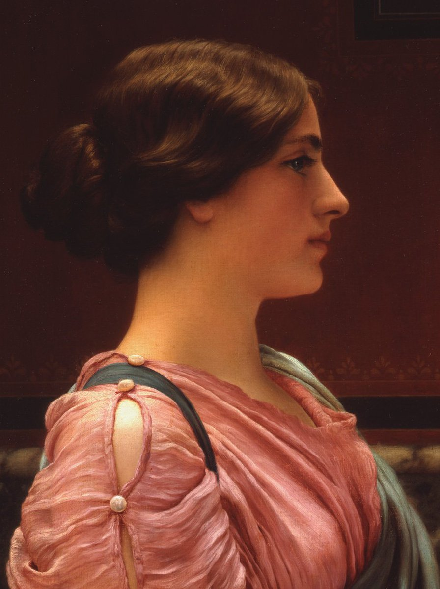 """A Classical Beauty"" ""Far Away Thoughts"" John William Godward (9 August 1861 – 13 December 1922) was an English painter from the end of the Neo-Classicist era. He was a protégé of Sir Lawrence Alma-Tadema, but his style of painting fell out of favor with the rise of modern art."