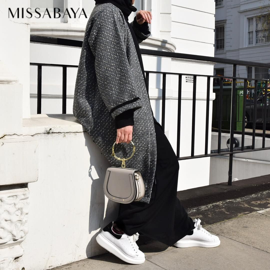 Grey Cardigan - Black Fatima Abaya - all Available Online . #jilbab #abayaplain #tweedcardigan #mixwool #chaneltweed #missabaya https://t.co/dToFy3NbrA