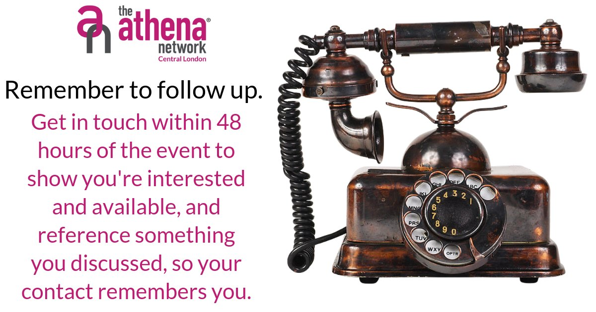 It's often said that networking is where the conversation begins, not ends. If you've had a great exchange, ask your conversation partner the best way to stay in touch.   Get in touch within 48 hours of the event to show you're interested and available.  #TopTips #magentatribe https://t.co/igdjuN1Ive